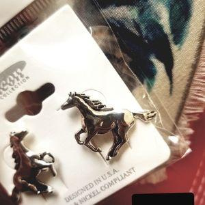 Horse clip on earrings